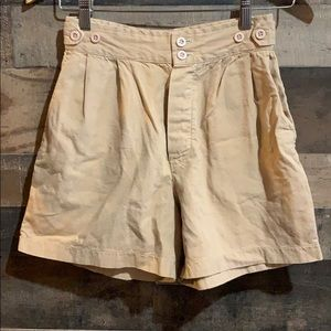 Vintage High Waisted Linen Khaki Shorts